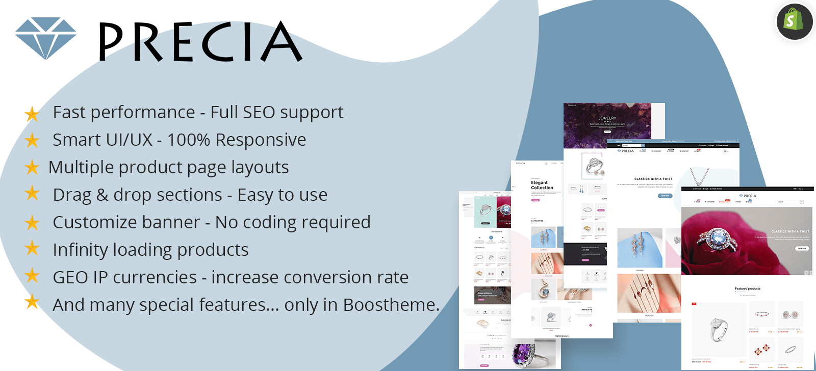 Precia - Responsive Shopify Sections Theme - Google Pagespeed 99/100 -  Cross-Sells - GeoIP Currency