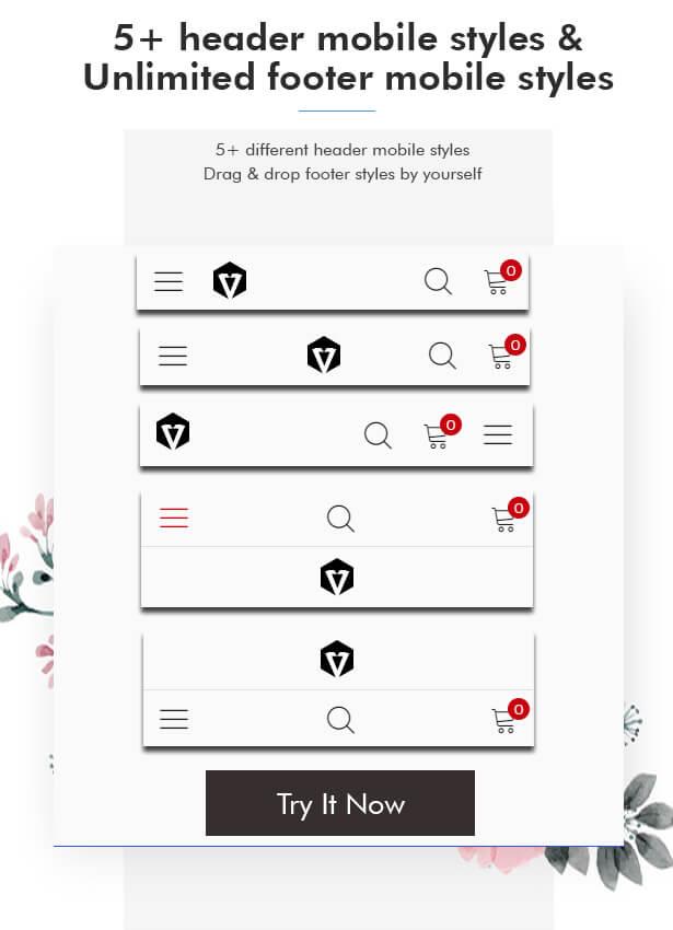 5+ mobile header styles
